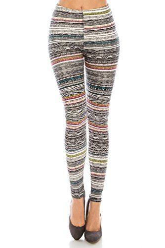 - Women's Printed Fashion Leggings Ultra Buttery Soft Basic Solid and Patterned - (Boho Stripes, Regular)