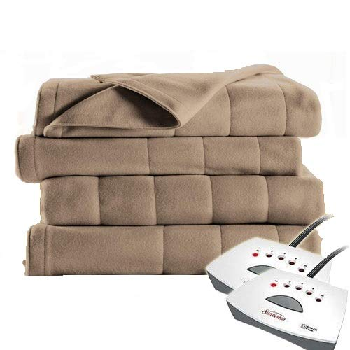 Sunbeam Electric Blanket Royal Dreams Quilted Fleece Queen Mushroom