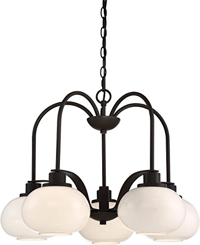 Tribeca 5 Light - Quoizel LWS2999D Tribeca Hanging Dining Room Chandelier Lighting, Glass Shades, 5-Light 500watts, Ol