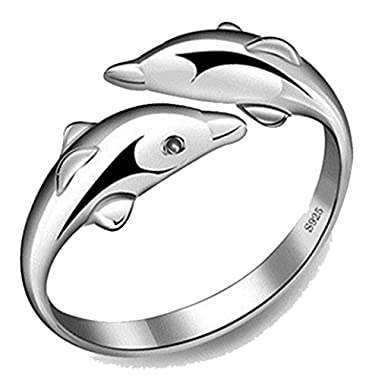 FB Silver Coating Double Dolphins Ring and Automatically Adjust Size Rings wonder