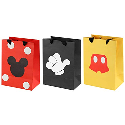 18 Pcs Mickey Mouse Favor Bags, Mickey Treat Candy Goodie Gift Bags for Baby Birthday Party Supplies Baby Shower Mickey Mouse Theme Party Decorations -
