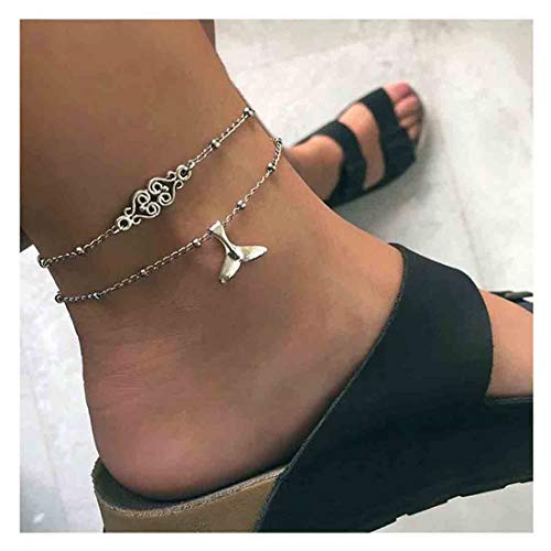 Olbye Whale Tail Anklet Bracelet Silver Layered Mermaid Ankle Bracelet Foot Chain Bridal Beach Jewelry for Women and Teen Girls (Silver 2)