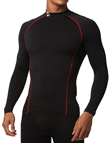 Mock Short Golf Turtleneck Sleeve (Defender Compression Men Shirt Under Gear Fits Cold Running BR_XL)