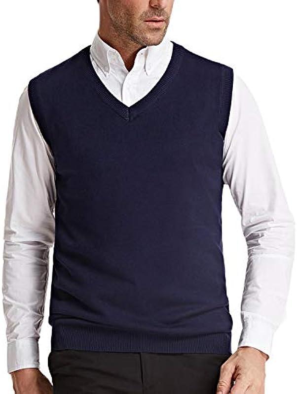 PJ PAUL JONES Męskie V-Ausschnitt Strickweste Klassisch Ärmellos Pullover Sweater Weste - Blau - Groß: Odzież