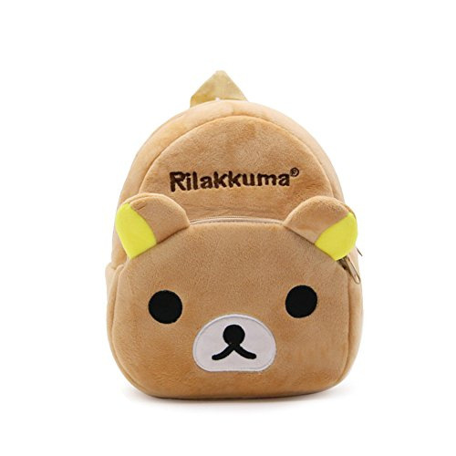 YOURNELO Kid's Plush Cartoon Preschool Toddler Toys Bag Backpack Schoolbag (E Rilakkuma)
