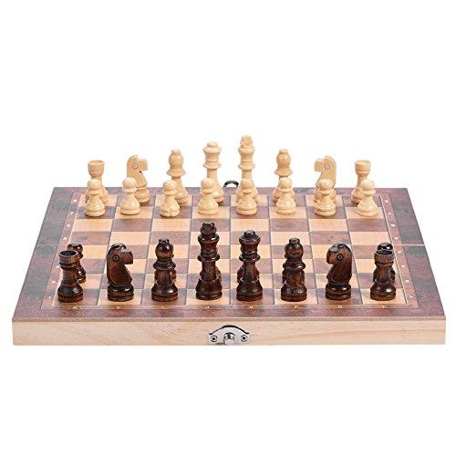 981/5000 Tablero de madera Delaman 3in1 Tablero plegable de madera Juego de ajedrez plegable para las actividades familiares...