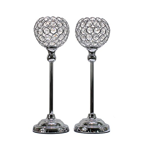 Dehomy Beaded Crystals Candle Holders for Wedding Dining Room Coffee Table Decorative Centerpieces Set of 2 (Silver, - Beaded Candle Holder