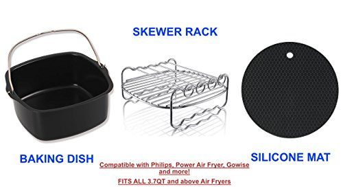 Air Fryer Accessories Compatible with Philips Avance/Viva,Cozyna,Gowise,Power Airfryer and more (Set of 17. Fits 3.7QT and above Air Fryers, Multi color) by ENSO (Image #5)