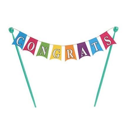 amazon com congratulations banner cake topper decoration kitchen