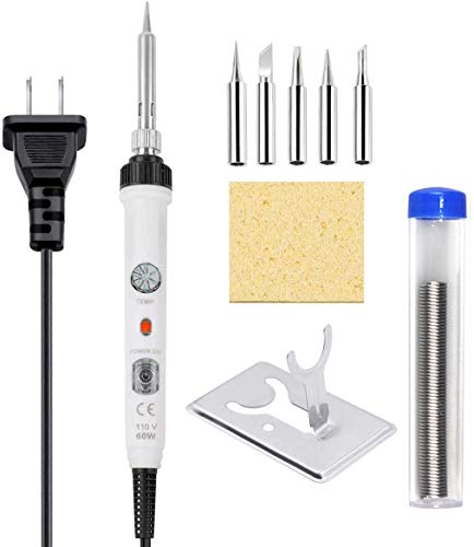 Soldering Iron Kit Electronics, [Upgraded] 60W Adjustable Temperature Welding Tool with ON-Off Switch, Rarlight 9-in-1 Soldering Kits, 5pcs Soldering Iron Tips, Solder Wire,Y Type Soldering Iro(White)