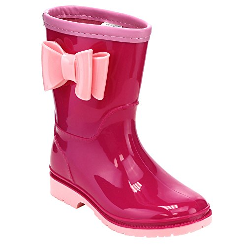 JELLY BEANS GD98 Girl's Knotbow Deco Lug Sole Low Heel Mid-Calf Rain Boots, Color:FUCHSIA PINK, Size:11 M US Little Kid