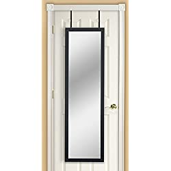 Mirrotek Greenwich Collection Contemporary Style Over The Door Full Length Bedroom Dressing Mirror, Black