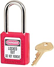 "Master Lock 410 Xenoy Safety Padlock with Short Body, 1/4"" x 1-1/2"" Sha"