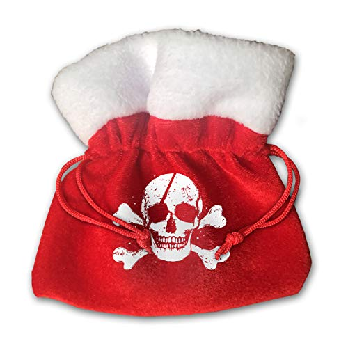 OHMYCOLOR Pirate Flag Skull Bones Skeleton Christmas Drawstring Gift Bags Candy Santa Sack Bag for Xmas Stocking Socks Hats Snowman Reindeer Tree Decorations Set Festival Party