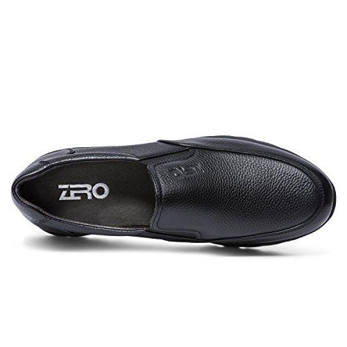 Zro Mens Slip On Fashion Moc Toe In Pelle Nera