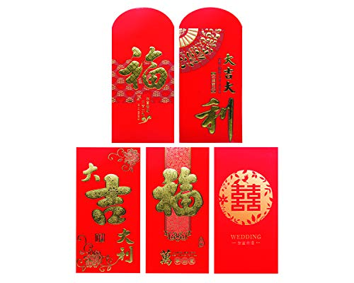 WildWave 30PCS,5 Multi Design Pattern Red Envelopes Chinese New Year Spring Festival Pocket Money Lucky Hong Bao for New Year,Birthday,Wedding(Abundance)