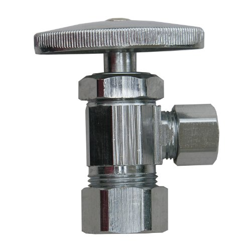 LASCO 06-7252VP Angle Stop Valves, 5/8-Inch Compression Inlet X 3/8-Inch Compression Outlet, Chrome, 5-Pack