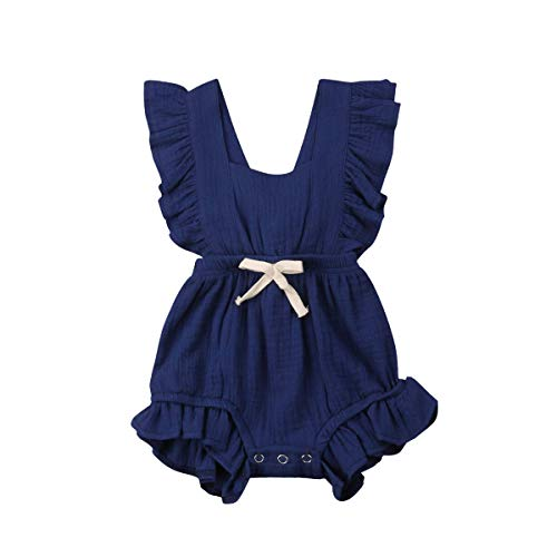 C&M Wodro Infant Baby Girl Bodysuit Sleeveless Ruffles Romper Sunsuit Outfit Princess Clothes (Navy Blue, 6-12 Months) (Blue Navy Clothing)