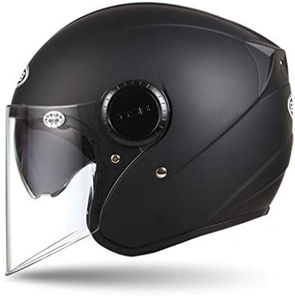 NJ ヘルメット- 電動バイクヘルメット男性と女性ハーフカバー四季ユニバーサルダブルレンズ防曇レトロヘルメット (色 : 赤, サイズ さいず : 34x26x25cm)