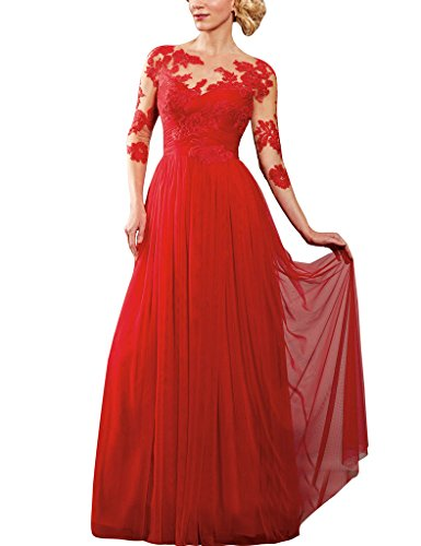 H.S.D Lace Applique Sheer Long Sleeves Tulle Mother Of The Bride Dresses Prom Gowns
