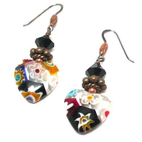 Millifiore 16mm Glass Heart OOAK Earrings Swarovski Crystal Copper Black