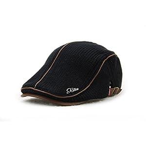 YCHY Men's Knitted Wool duckbill Hat Warm Newsboy Flat Scally Cap (black02)
