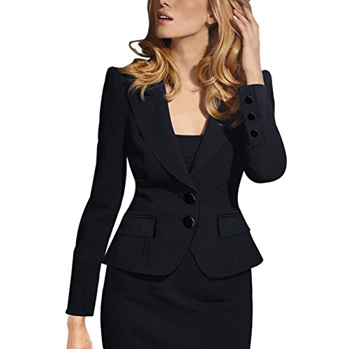Women Long Sleeve Slim Suit Jacket Coat Black - 2