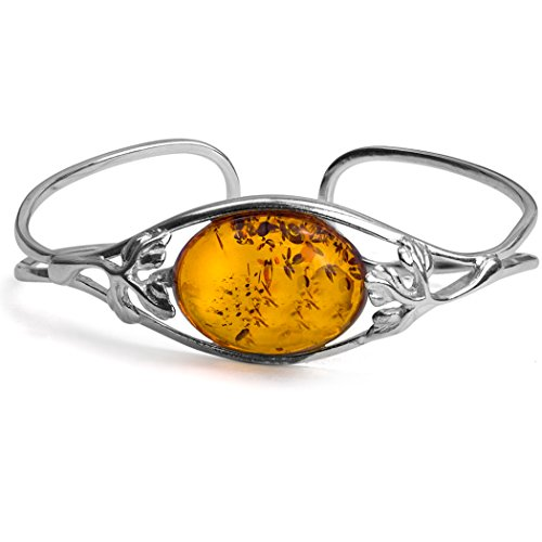 Amber Sterling Silver Leaves Oval Bangle Bracelet