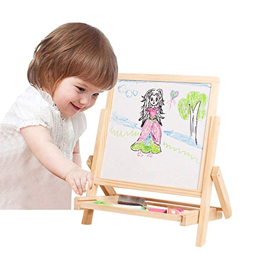 2 in1 Wooden Kids Easel Double-Sided Adjustable Chalk Drawing Blackboard & White Dry Erase Surface with Bonus Magnetic Alphabet Numbers & Extra Accessory Set (Tabletop)