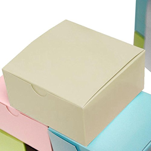 Efavormart 100pcs of 4x4x2 Ivory Cake Box for Candy Treat Gift Wrap Box Party Favor Boxes for Bridal Shower Wedding Party