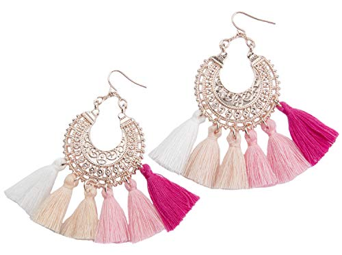 Blush Rose Type (Rose Gold Tassel Earrings: Pink fringe gifts for women. Fashion drop dangle tassle earing by BLUSH & CO. (Embrace))