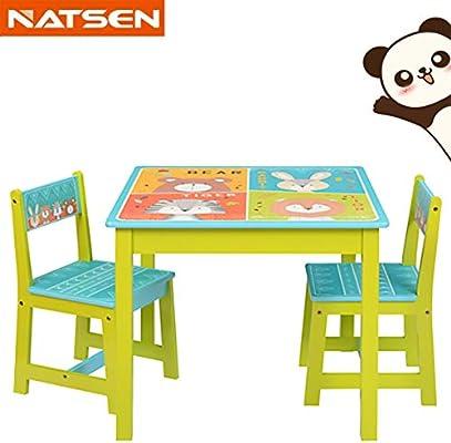 NTS Salon de Jardin pour Enfant en Bois 1 Table 1 Table et 2 chaises ...