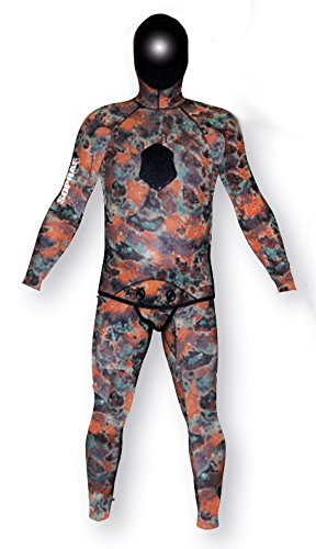 Sopras Sub Apnea Mimetic Camo 3mm Open Cell Wetsuit 2 piece Farmer John with Hood Camofluage Wet Suit for Freediving Apnea Scuba Diving Spearfishing Size Large LG (Cell 3mm Wetsuit Open)
