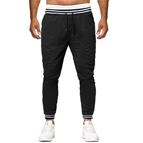 - XLnuln Fashion Men's Pleated Performance Chino Pant Sport Button Lashing Patchwork Loose Sweatpants Drawstring Pant Black