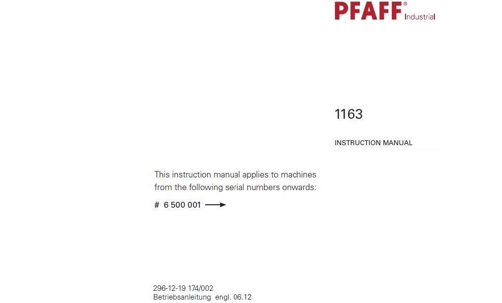 Download Pdf-File Pfaff 1163 User Manual Sewing Machine