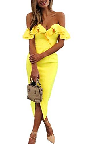 Yellow Ruffle (Angashion Women's Sexy V Neck Ruffle Off The Shoulder Slit Evening Club Party Bodycon Midi Dress,Yellow,Medium)