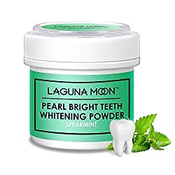 Pearl Bright Teeth Whitening Powder by Lagunamoon, Remove Coffee Wine Tobacco Stains and Freshen Breath. No Damage to Enamel or Gum. No Black Mess Caused by Charcoal