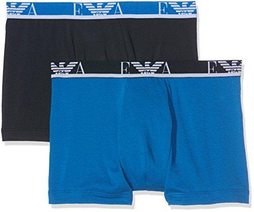 Emporio Armani Men's Monogram 2-Pack Boxer Brief, China Blue/Marine, (Prestige Monogram)