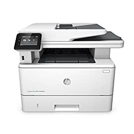 HP LaserJet Pro M426fdn All-in-One Laser Printer with Built-in Ethernet & Double-Sided Printing, Amazon Dash Replenishment ready (F6W14A) 1 MULTIFUNCTION LASER PRINTER: Monochrome laser printer, scanner, copier, fax, duplex printing, built-in Ethernet connectivity (no wireless), color touchscreen, auto document feeder. FAST PRINT SPEED: print up to 40 pages per minute. First page out in as fast as 5.4 seconds. SOLID SECURITY: Protect sensitive information and improve compliance with data, device and document security solutions for your print fleet.