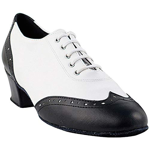 Women's Ballroom Dance Shoes Salsa Latin Practice Dance Shoes Black & White Leather 2008EB Comfortable - Very Fine 1.5