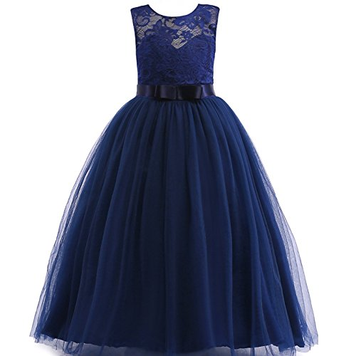 Glamulice Girls Lace Bridesmaid Dress Long A Line Wedding Pageant Dresses Tulle Party Gown Age 3-14Y (13-14Y, O-Navy Blue) (Long Gown Dress)