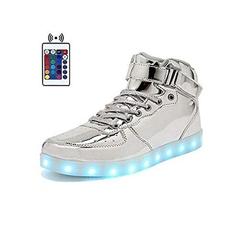 0bc02900fd386 Galleon - High Top Velcro LED Light Up Shoes 7 Colors USB Flashing Charging  Walking Sneakers For Men Women Boots With Remote Control-40(silver)