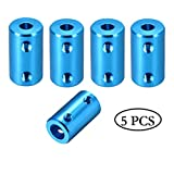 Flexible Shaft Coupling 5mm to 8mm Rigid Coupler Connector Aluminum Casing Blue (Pack of 5)