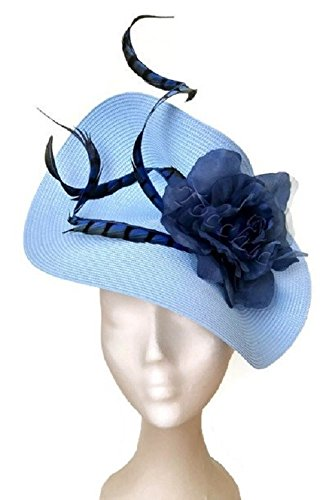 Pale blue fascinator with feathersw  Amazon.co.uk  Handmade 416536083f2