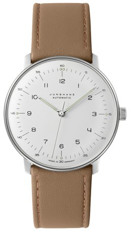 Junghans Max Bill Automatic Mens Watch - 38mm Analog White Face Classic Watch with Luminous Hands - Stainless Steel Brown Leather Band Luxury Watch for Men Made in Germany 027/3502.00 (Max Bill Watch)