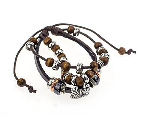 BONAMART Leather Bracelet Bracelet Beads , Cool Bangle Bracelet for Women for Men, for Unisex