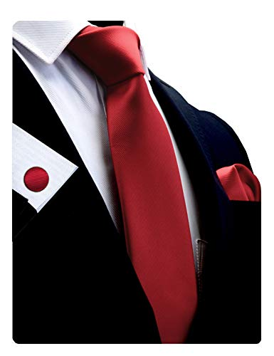 (GUSLESON Brand Mens Classic Silk Solid Red Wedding Tie Necktie and Pocket Square Cufflinks Sets)