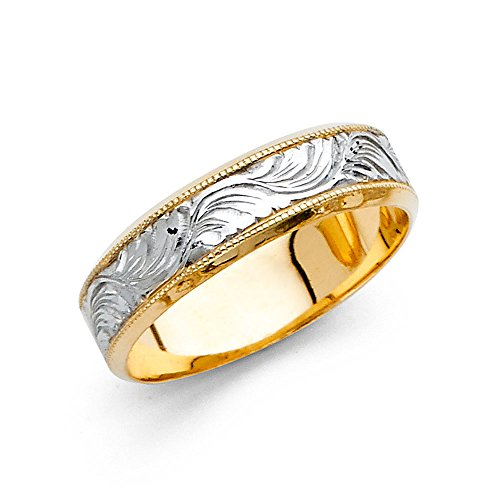 Wedding Band Solid 14k Yellow White Gold Ring Milgrain Filigree Diamond Cut Style Two Tone 5 mm Size 12.5 by ZenJewels