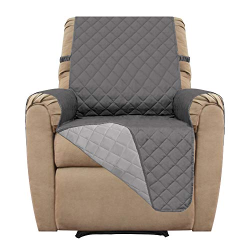 Easy-Going Recliner Sofa Covers, Recliner Slipcovers, Reversible Quilted Furniture Protector, Water Resistant, Anti-Slip Couch Shield with Elastic Straps,Recliner Cover Pets (Recliner,Gray/Light Gray)