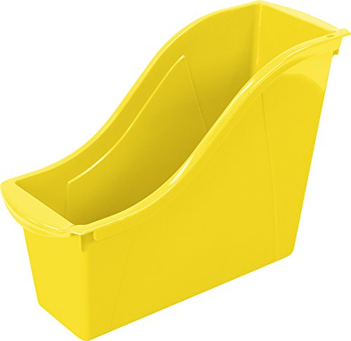 Storex Small Book Bin, 9 x 4.5 x 8.5 Inches, Yellow, Case of 6 (71112U06C)